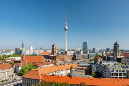 Berlin cityscape with Berlin cathedral and Television tower Фото со стока