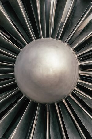 Front view of a modern fighter plane engine close up