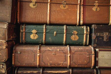 Retro luggages bag background Фото со стока