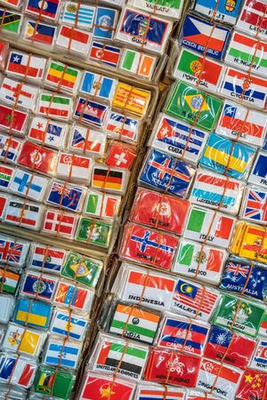 Bunch of patches with world country flags Фото со стока