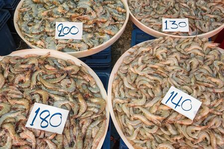 Variety of shrimps for sale in thai market Фото со стока