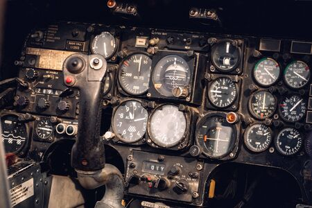 Vintage military helicopter control panel