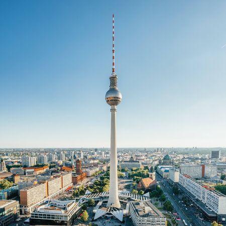 Berlin TV Tower at Alexander Platz at summer in Berlin, Germany