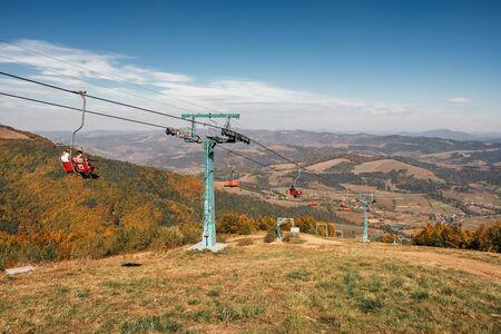 Cable car in Ukrainian Carpathian mountains at autumn, Ukraine