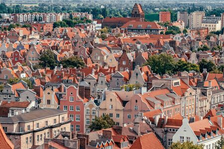 Top view of Gdansk old town with reddish tiled roofs of old town in Gdansk 스톡 콘텐츠
