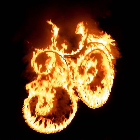 Om sign in flame and fire at black background