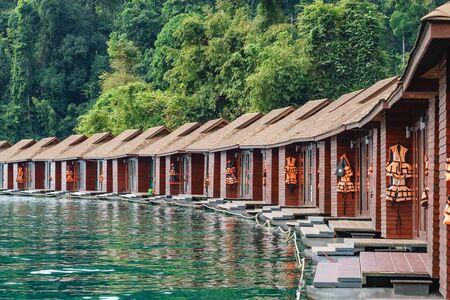 Luxury raft houses resort on Cheow Lan lake in Khao Sok National Park