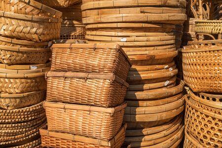 Different rattan weave items in handicraft shop