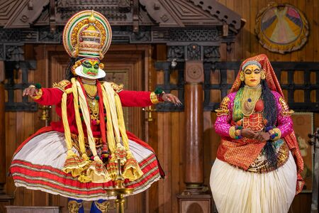 Kathakali performers in the virtuous pachcha green role in Cochin, Kerala, India.