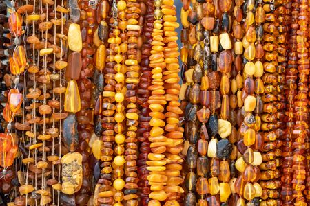 Beautiful amber jewellery for sale in Gdansk, Poland. Stock Photo