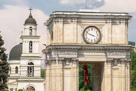 Panorama of the Triumphal Arch in Chisinau, Moldova
