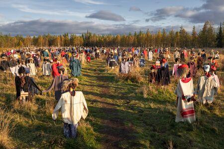 Installation Silent people at sunset in Finland 版權商用圖片