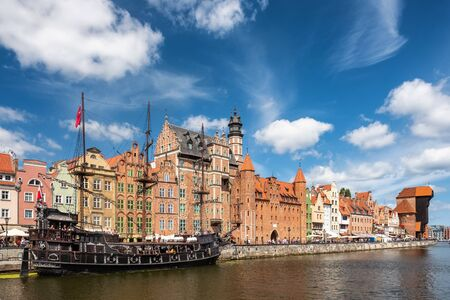Cityscape of Gdansk old town on the river Motlawa, Poland Stock Photo