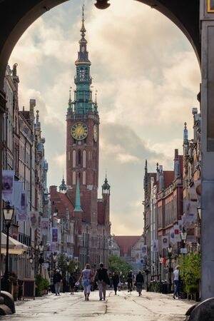 View at main city hall at Long Lane street in the old city of Gdansk, Poland. Фото со стока