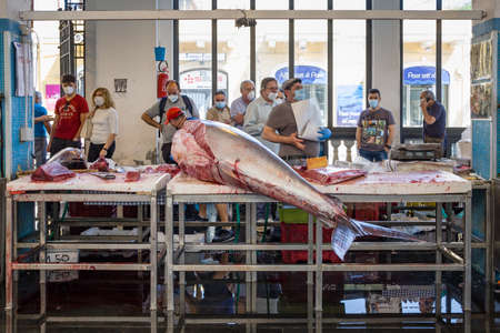 Fish market in Riposto during Covid-19 pandemic in Sicily