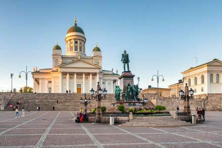 St. Nicholas Cathedral and monument of Alexander II on the Senate square Senaatintori in Helsinki, Finland. Editorial