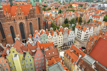 Top view of Gdansk old town with reddish tiled roofs of old town in Gdansk