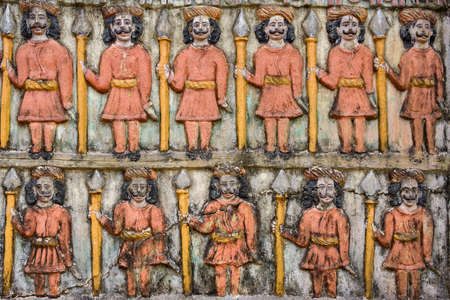 Old vintage colorful carving at the hindu temple in India