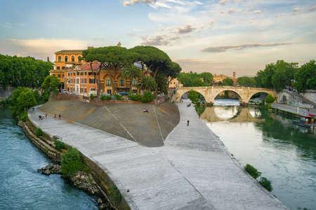 Tiberina Island on the Tiber River in Rome, Italy.