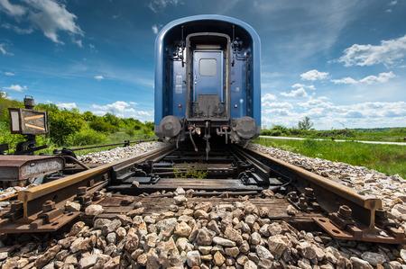 rear end: Last wagon of a blue train