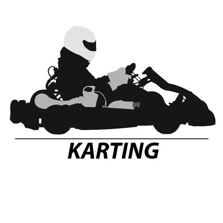 motorsports: Man racing on sport kart in helmet Illustration