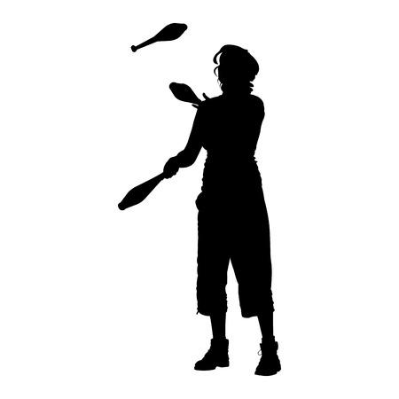 silhouette of street juggler
