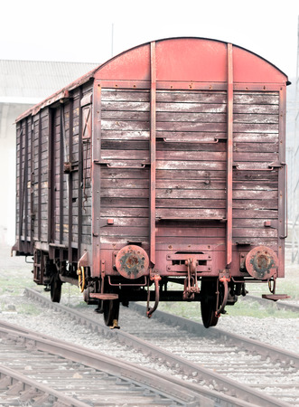 freight train: Old wooden cargo or freight train car
