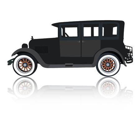 old timer: Old timer car silhouette Illustration