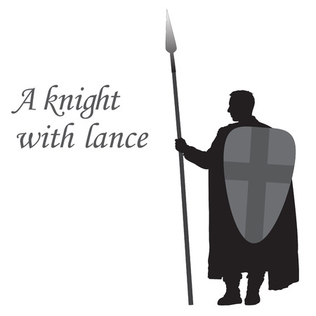 knightly: Silhouette of a knight with lance on white background
