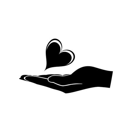 Heart in Hand icon vector