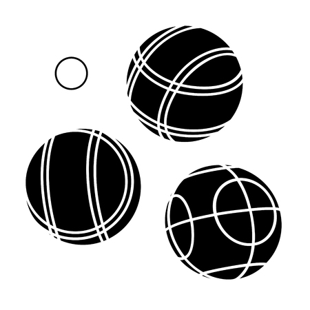 french boule: Bocce Balls flat Icon - white background