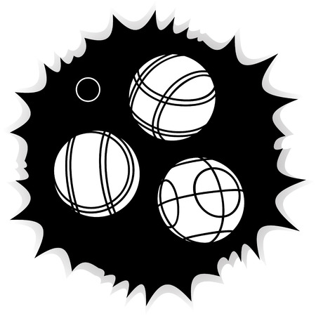 bocce: Bocce Balls flat Icon - black background Illustration