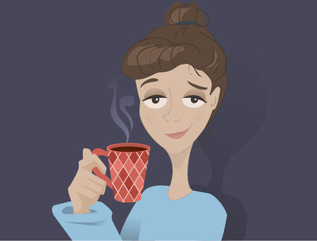 sleepy woman: Coffee girl Illustration
