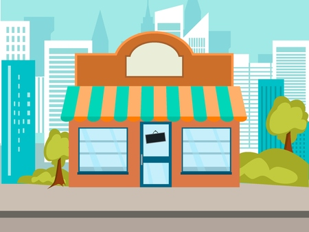 shop on the street in the city Vector