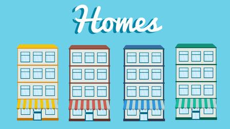 homes: Homes set.Flat