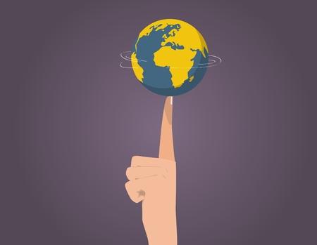 rotation: Planet rotation on finger Illustration