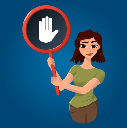 Girls with symbol Vector