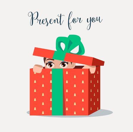 rejoicing: Present in the box.Girl Illustration
