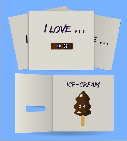 yelow: I love card with secret series. Color postcard with noize brushes.Ice-craem Illustration