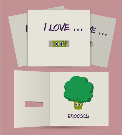 secret love: I love card with secret series. Color postcard with noize brushes. Broccoli