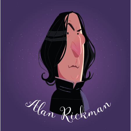 Alan Rickman cartoon. Severus Sneep karakter
