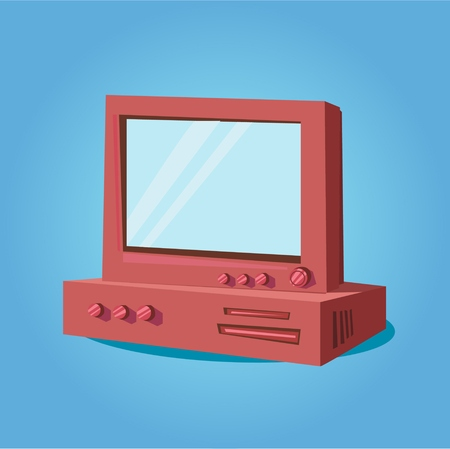 display: Red tv display.