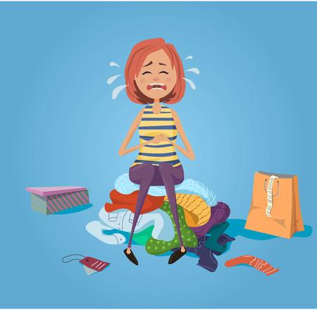 Las niñas llorando y sentarse en la pila de ropa