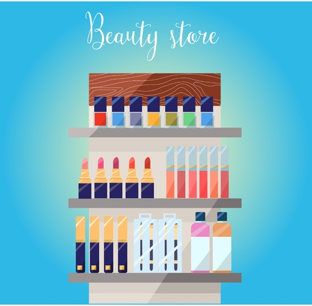 nailpolish: Cosmetics top on the table. Make up objects: shampoo, cream, lipstick, mascara nail-polish, perfume, lotion, eyeshadow