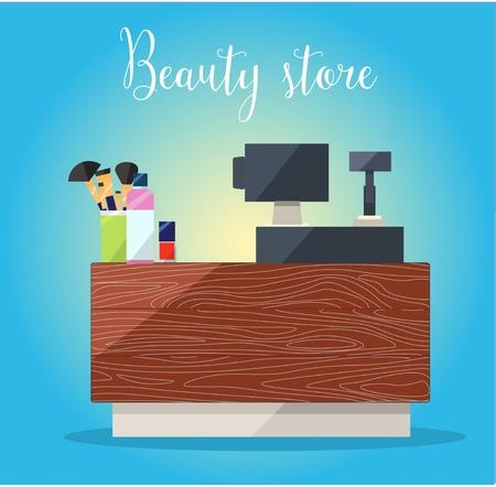 showrooms: Beauty store cashbox. Cosmetics: mascara, gloss, lipstick, blush, perfume Illustration