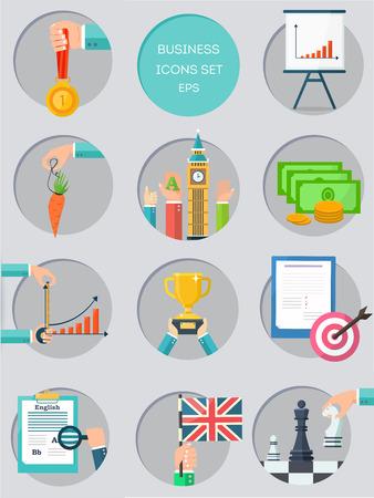 achievable: Business color icons set. Idea, specific, measurable, achievable Illustration
