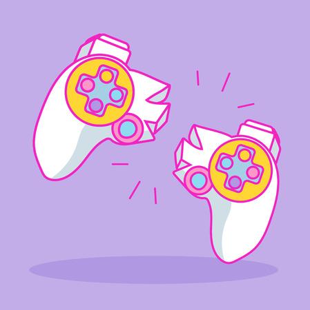 Broken gamepad. Cartoon illustration. Game addict