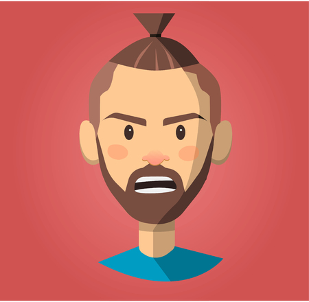Angry screaming man. Vector flat cartoon illustration Illustration