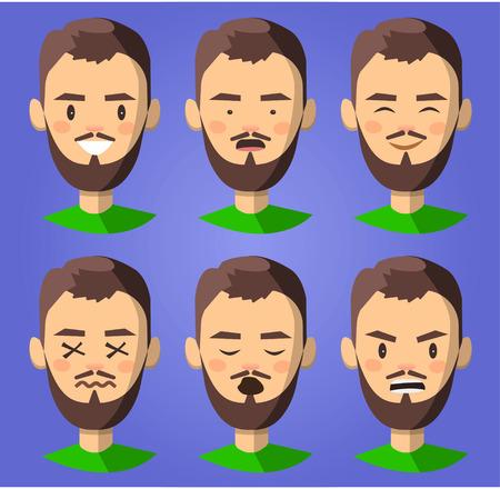 set of the emotion man. happy, wink, cry, seriosly, sleep Illustration