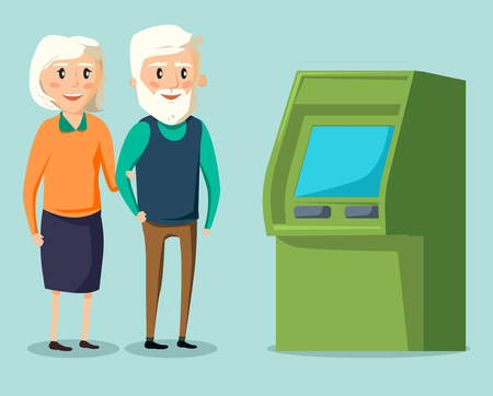 Old senior man and woman walking together in the bank ATM
